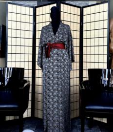 Kimono centuur ( Obi ) met verstevigd middenstuk, zwart/blauw/ rood en bronskleur