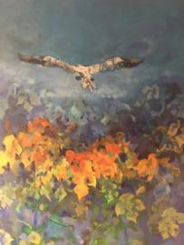 """""""Flying Bird in blue"""" olieverf op doek 90-120 cm."""