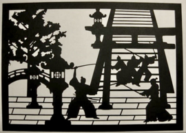 """Japanse knipkunst in houten lijst en passe-partout """" Aïkido-sport""""."""