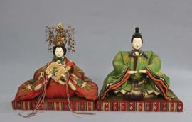 Keizerspaar EDO-PERIODE ± 1840 Japan GERESERVEERD.
