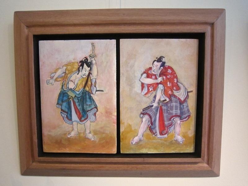 """""""Kabuki-actors""""  diptiek op houten paneel, tempera techniek 47-39 cm incl.fraaie houten ljst."""