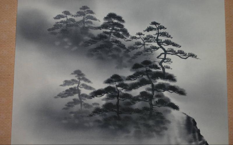 "Zijden Rolschildering "" landscape with pine trees at dawn """