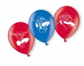 Spiderman rode en blauwe ballonnen ø 22,8 cm. 6 st.
