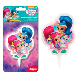 Shimmer and Shine 2D taart kaars 7,5 cm.