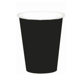 Zwarte wegwerp bekertjes 8 st.