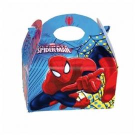 Spiderman traktatiedoosje 16 x 16 x 10,5 cm.