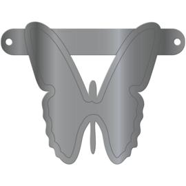 Banner symbool vlinder zilver