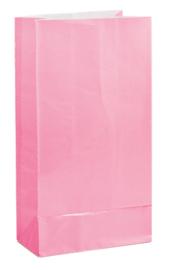 Papieren traktatie zakjes roze 12 st.