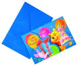 Disney Winnie the Pooh birthday uitnodigingen 6 st.
