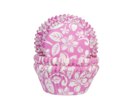 Aloha bloem cupcake vormpjes roze 50 st.