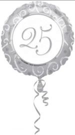 Folieballon zilver 25 jaar ø 45 cm.