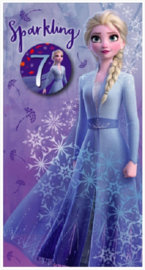 Disney Frozen 2 verjaardagskaart 7 jaar incl. button