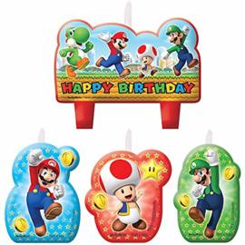 Super Mario Bros verjaardag taart kaarsjes 4 st.