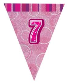 Vlaggenlijn pink glitter 7 jaar 2,74 mtr.