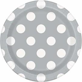 Zilver met witte stippen gebakbordjes ø 17 cm. 8 st.