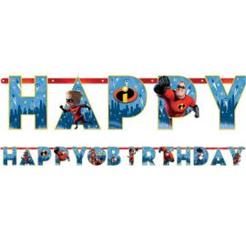 Disney The Incredibles 2 happy birthday leeftijd letterslinger 3,2 mtr.