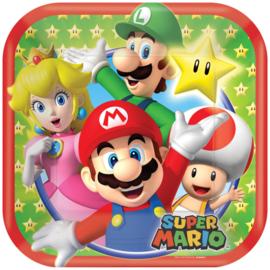 Super Mario Bros gebakbordjes 18 cm. 8 st.