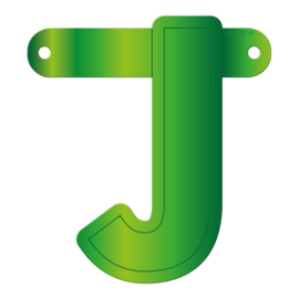 Banner letter J lime groen