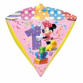 Disney Minnie Mouse 1e verjaardags folieballon 38 x 43 cm.