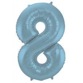Folieballon cijfer 8 pastel blauw 86 cm.