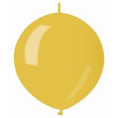 Knoopballon metallic geel ø 30 cm. 10 st.