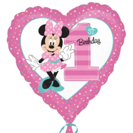 Disney Minnie Mouse 1st Birthday hart folieballon 43 cm.