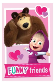 Masha and the Bear fleecedeken Funny Friends 100 x 150 cm.