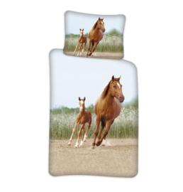 Paarden dekbedovertrek 100 x 140 cm.