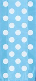 Licht blauwe met witte stippen cellofaan zakjes 20 st.