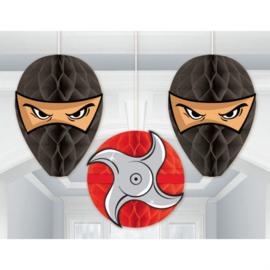 Ninja honeycomb decoratie 3 st.