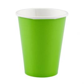 Lime groene wegwerp bekertjes 8 st.