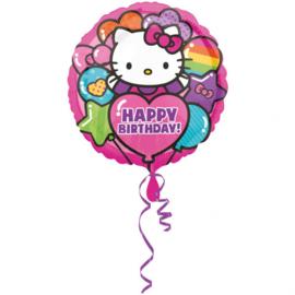 Hello Kitty folieballon happy birthday ø 43 cm.