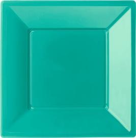 Turquoise bordjes  vierkant 23 x 23 cm. 8 st.