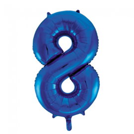 Folieballon cijfer 8 blauw 86 cm.