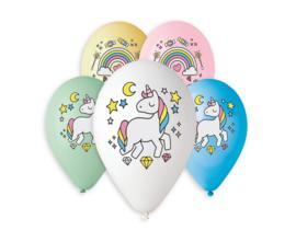Unicorn ballonnen full color ø 30 cm. 5 st.