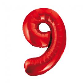 Folieballon cijfer 9 rood 86 cm.