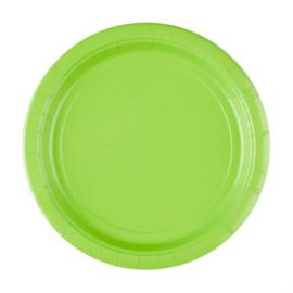 Lime groene wegwerp bordjes ø 22,9 cm. 8 st.