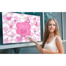 Geboorte meisje raamvlag It's a girl 90 x 60 cm.