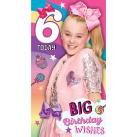JoJo Siwa verjaardagskaart 6 jaar