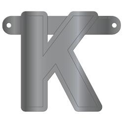 Banner letter K metallic zilver