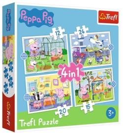 Peppa Pig puzzel 4in1 12-15-20-24 stukjes