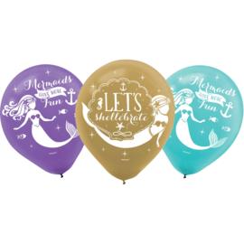 Zeemeermin ballonnen Mermaid Wishes ø 27,5 cm. 6 st.
