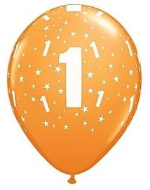 Leeftijd ballonnen stars 1 jaar oranje ø 28 cm. 6 st.