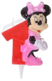 Disney Minnie Mouse verjaardag taart kaars 1 jaar 7 cm.