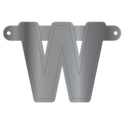 Banner letter W metallic zilver