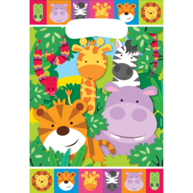 Jungle traktatie zakjes Animal Friends 8 st.