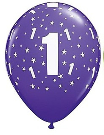 Leeftijd ballonnen 1 jaar stars paars ø 28 cm. 6 st.