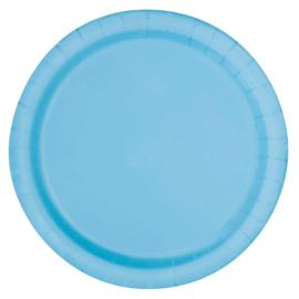 Licht blauwe wegwerp gebak-dessert bordjes ø 17,1 cm. 8 st.
