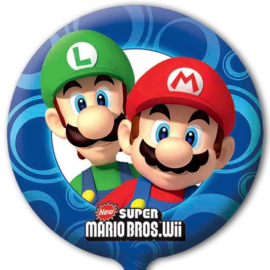 Super Mario en Luigi folieballon ø 45 cm.