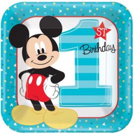 Disney Mickey Mouse 1e verjaardag bordjes 22,9 cm. 8 st.